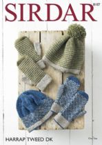 Sirdar Harrap Tweed DK - 8107 Pull on Hats and Mittens Knitting Pattern